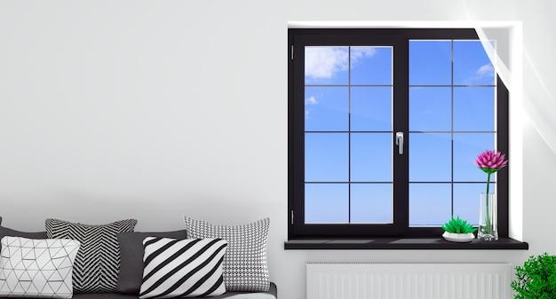 Ilustracja 3d. nowoczesne czarne okno we wnętrzu