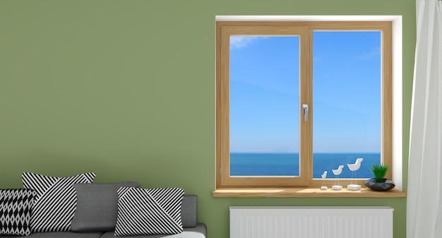 Ilustracja 3d. nowoczesne drewniane okno we wnętrzu