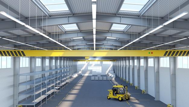Ilustracja 3d. nowy pusty magazyn lub fabryka.
