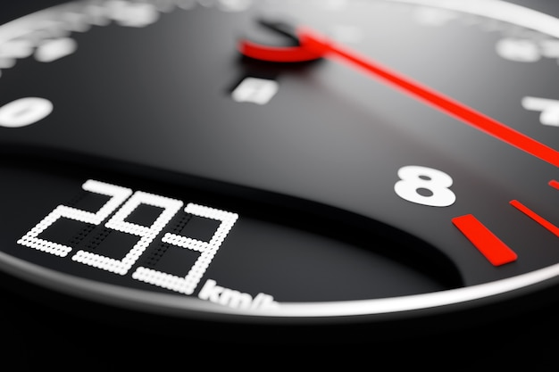 Ilustracja 3d nowych szczegółów wnętrza samochodu. prędkościomierz pokazuje maksymalną prędkość 293 kmh.
