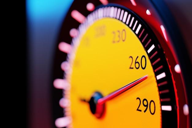 Ilustracja 3d nowych szczegółów wnętrza samochodu. żółty prędkościomierz pokazuje maksymalną prędkość 275 kmh. projekt i wnętrze nowoczesnego samochodu.