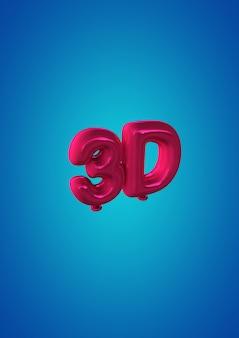 Ilustracja 3d: obraz 3d dwóch różowych balonów ze słowem 3d