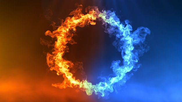 Ilustracja 3d ognia i lodu premium zdjęcia