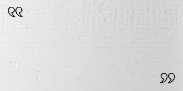 Ilustracja 3d. ogromny cudzysłów na ceglanej ścianie. nowoczesne wnętrza koncepcyjne. tło dla banera