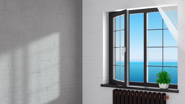 Ilustracja 3d. otwarte czarne nowoczesne plastikowe okno w pokoju na poddaszu.
