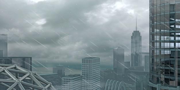 Ilustracja 3d. panorama dużego miasta podczas huraganu. deszcz, śnieg i wiatr. zła pogoda