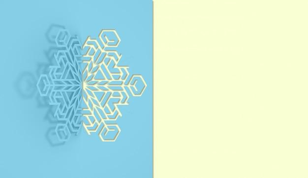 Ilustracja 3d płatka śniegu papieru