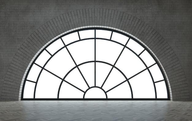 Ilustracja 3d. pokój na poddaszu lub studio z dużymi czarnymi oknami łukowymi. nowoczesne wnętrze.