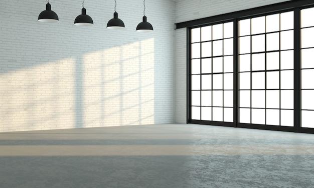 Ilustracja 3d. pokój na poddaszu lub studio z dużymi czarnymi oknami. nowoczesne wnętrze.