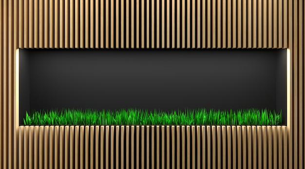 Ilustracja 3d. półka sklepowa lub witryna z trawą. minimalizm w stylu eko. tło recepcji