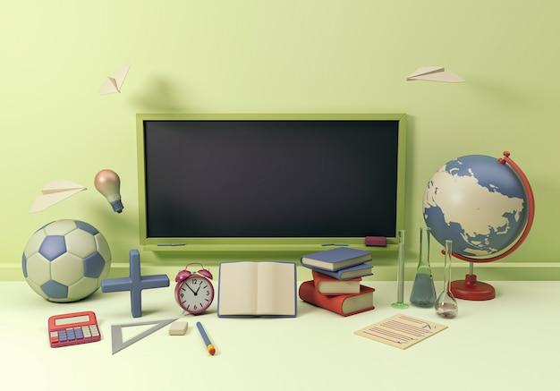 Ilustracja 3d. przybory szkolne i przedmioty z czarną pustą tablicą. powrót do szkoły