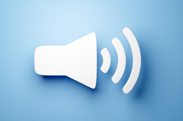 Ilustracja 3d przycisku do włączania muzyki, głośności na niebieskim tle. znak przycisku głośności dla odtwarzacza muzyki. odtwórz element projektu