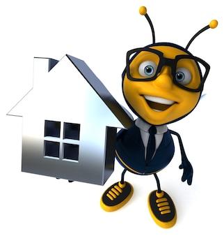 Ilustracja 3d pszczoły biznesowej