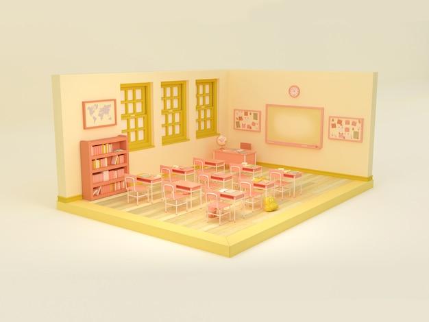 Ilustracja 3d. pusta sala szkolna