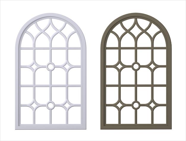 Ilustracja 3d. realistyczny gotycki średniowieczny witraż