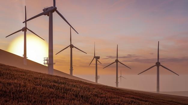 Ilustracja 3d renderowania zrównoważonej energii turbiny wiatrowej