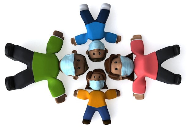 Ilustracja 3d rodziny z maską