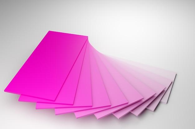 Ilustracja 3d rzędów różowych pasków, podobnych do wizytówek lub przykładów kolorów.