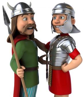 Ilustracja 3d rzymian i galii