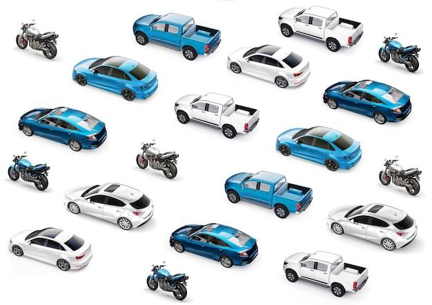 Ilustracja 3d. samochody sportowe na białym tle. renderowania 3d.