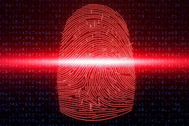 Ilustracja 3d skanowanie odcisków palców zapewnia dostęp bezpieczeństwa z identyfikacją biometryczną. pojęcie hakowania odcisków palców, zagrożenie. odcisk palca z kodem binarnym. pojęcie bezpieczeństwa cyfrowego.
