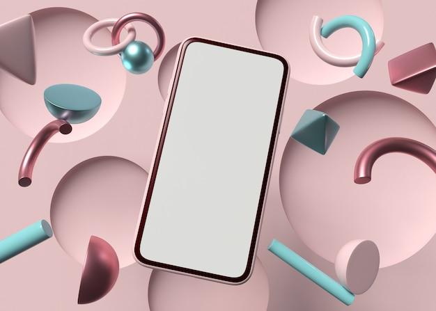 Ilustracja 3d. smartfon z białym ekranem na geometrii