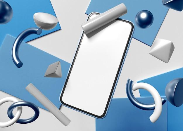 Ilustracja 3d. smartfon z białym ekranem