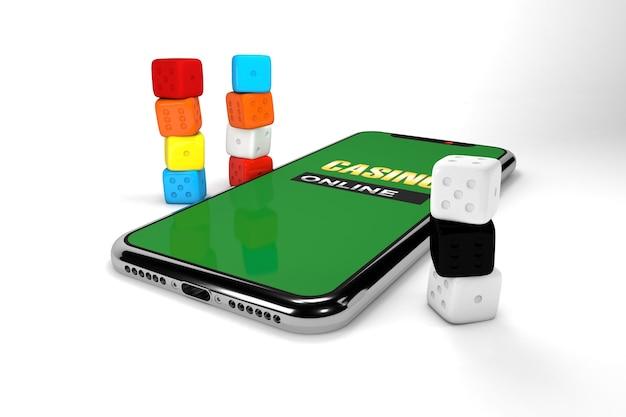 Ilustracja 3d. smartfon z kostkami. koncepcja kasyna online. na białym tle.