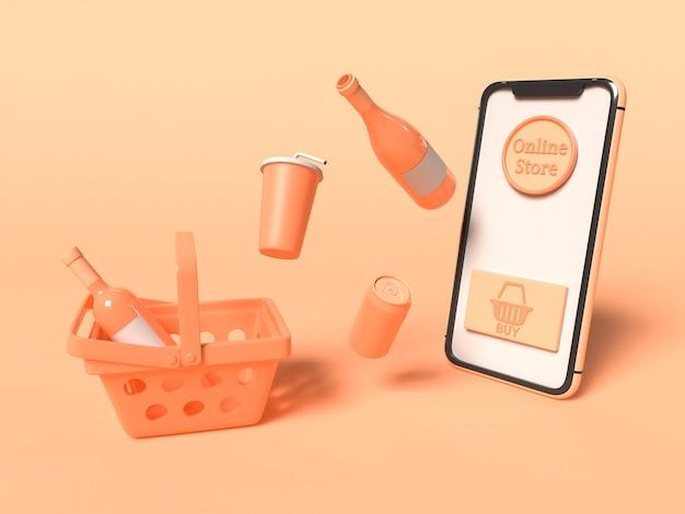 Ilustracja 3d. smartfon z koszykiem i produktami. sklep internetowy i koncepcja technologii.
