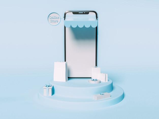 Ilustracja 3d. smartfon z papierowymi torbami i pudełkami na prezenty. koncepcja zakupów online i e-commerce.