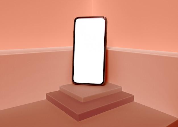 Ilustracja 3d. smartphone z pustym białym ekranem.