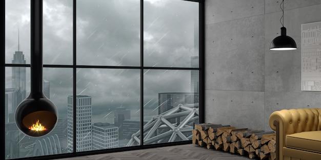 Ilustracja 3d. stalowy kominek kula we wnętrzu w stylu loft. technologia grzewcza. tło betonowe ściany. panorama dużego miasta podczas huraganu