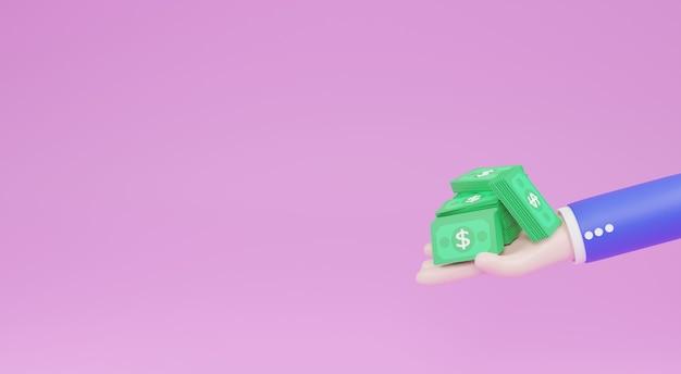 Ilustracja 3d, stos gotówki i banknoty na stronie kreskówki pojęcie oszczędności, darowizny, płacenie. symbol bogactwa.