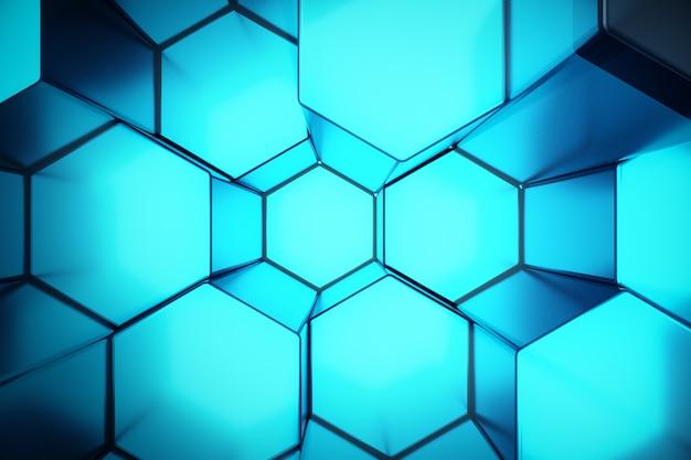 Ilustracja 3d streszczenie niebieski futurystyczny wzór sześciokąta powierzchni z promieni świetlnych. niebieskie tło sześciokątne odcień.