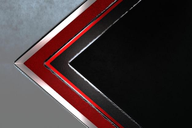 Ilustracja 3d. streszczenie srebrny, czerwony i czarny kierunek strzałki na czarnym pustym miejscu na logo tekstowe, koncepcja nowoczesnej luksusowej futurystycznej powierzchni i projektowania broszur