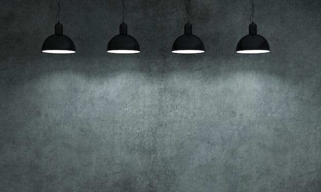 Ilustracja 3d. szary stary betonowy mur z lampami.