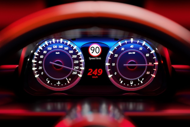 Ilustracja 3d szczegółów nowego wnętrza samochodu