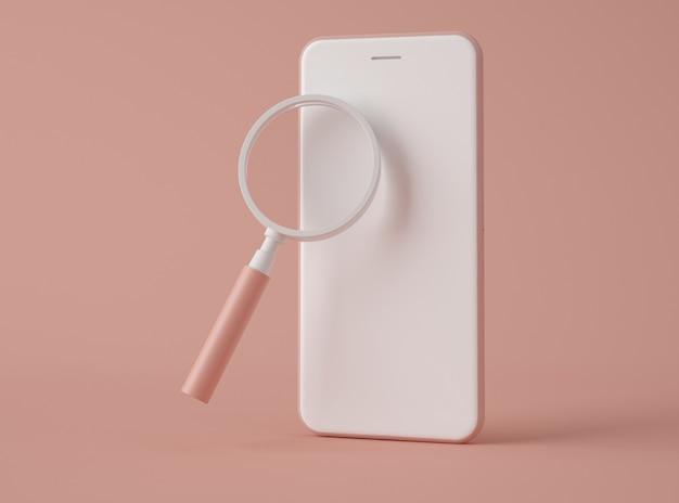 Ilustracja 3d. szkło powiększające na ekranie smartfona.