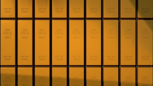 Ilustracja 3d, sztabki złota o najwyższym standardzie leżą w rzędach. sztaby z metali szlachetnych, luksus, oszczędności.