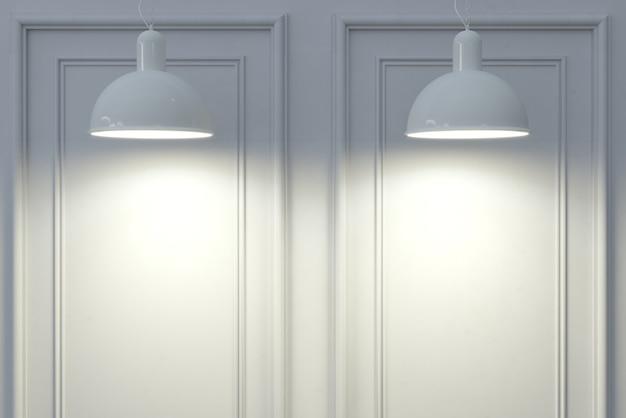 Ilustracja 3d. tło. klasyczna ściana z białych paneli drewnianych i lamp