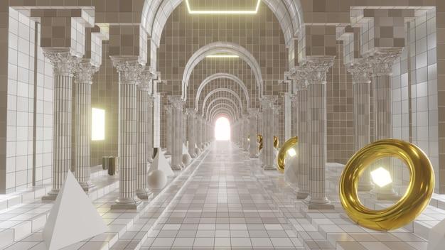 Ilustracja 3d tło reklamy i tapety w architekturze i scenie budynku. renderowania 3d w koncepcji dekoracyjnej.