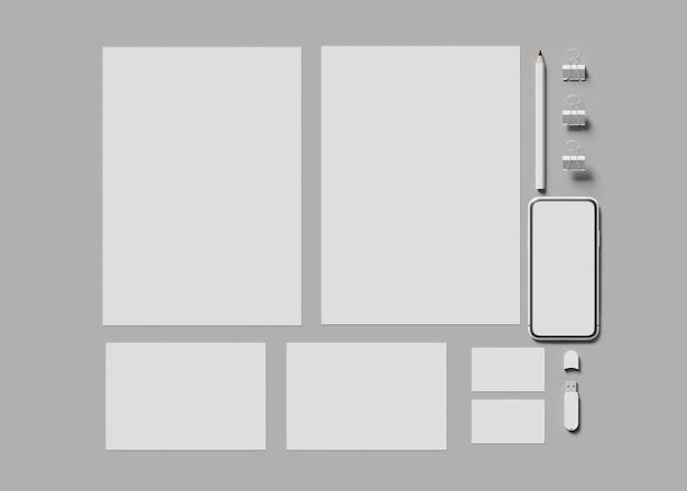 Ilustracja 3d. tożsamość zbiorowa. makieta stacjonarnego zestawu brandingowego.