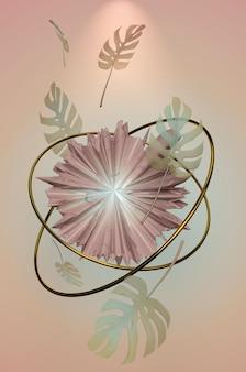 Ilustracja 3d. trendy summer tropical leaves w pastelowym kolorze tła