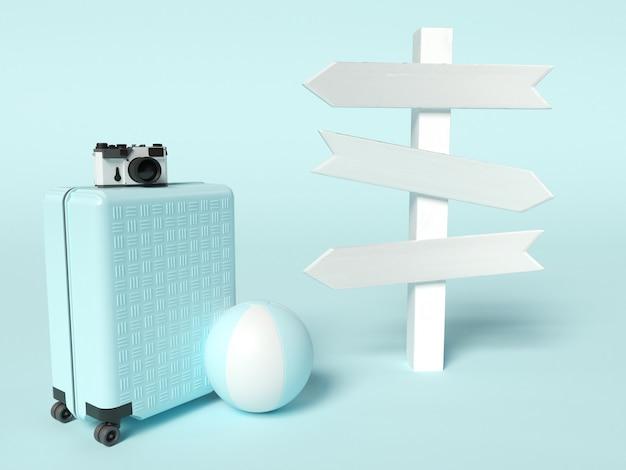 Ilustracja 3d. walizka podróżna z piłką plażową i drogowskazem. koncepcja letnich podróży.