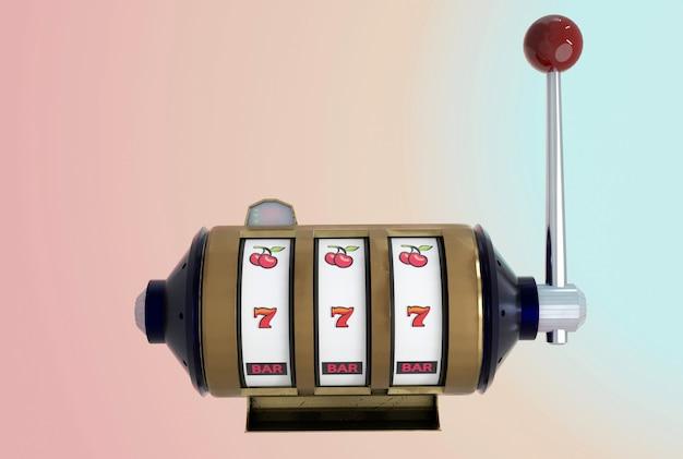 Ilustracja 3d. widok z przodu, automat i jednoręki bandyta na pastelowym tle.