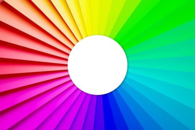 Ilustracja 3d wielobarwne widmo wokół białego koła. wzór kształtu. technologia geometrii tęczy tło