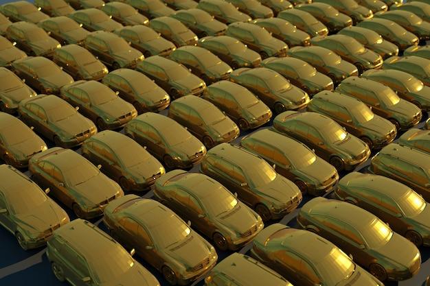 Ilustracja 3d wielu samochodów w złotej powłoce na czarnym tle na białym tle. dużo złotych samochodów, grafika 3d, widok z boku