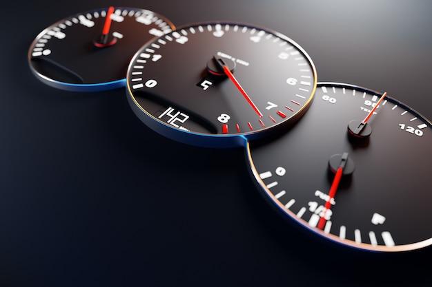 Ilustracja 3d z bliska czarny panel samochodowy, cyfrowy jasny obrotomierz, prędkościomierz pokazuje 142 km h.