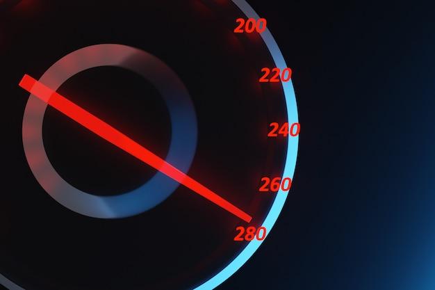 Ilustracja 3d z bliska czarny panel samochodowy, cyfrowy jasny obrotomierz, prędkościomierz pokazuje 280 km h.