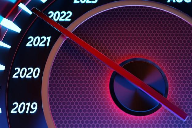 Ilustracja 3d z bliska czarny prędkościomierz z odcięciami 2020,2021